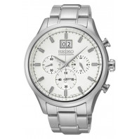SEIKO MENS 42MM 100M CHRONOGRAPH WHITE STEEL