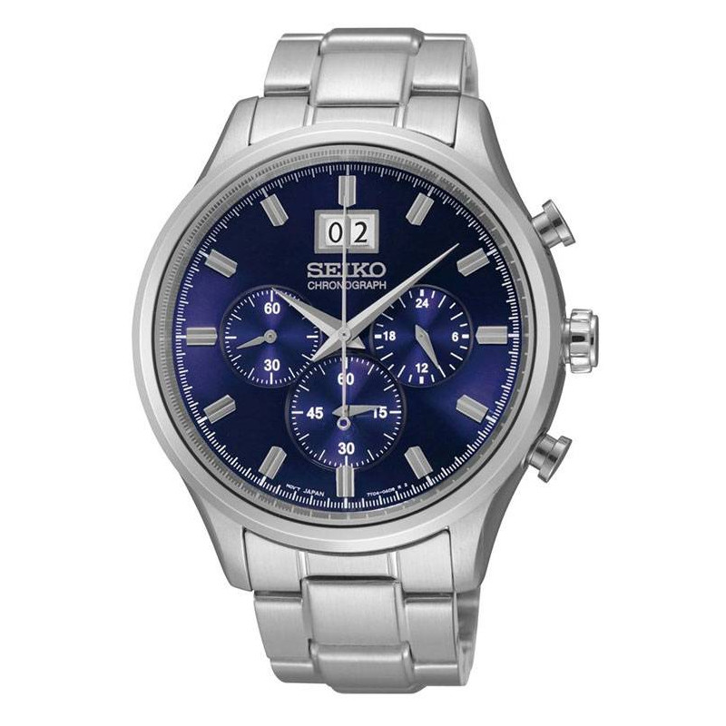 SEIKO MENS 42MM 100M CHRONOGRAPH BLUE STEEL