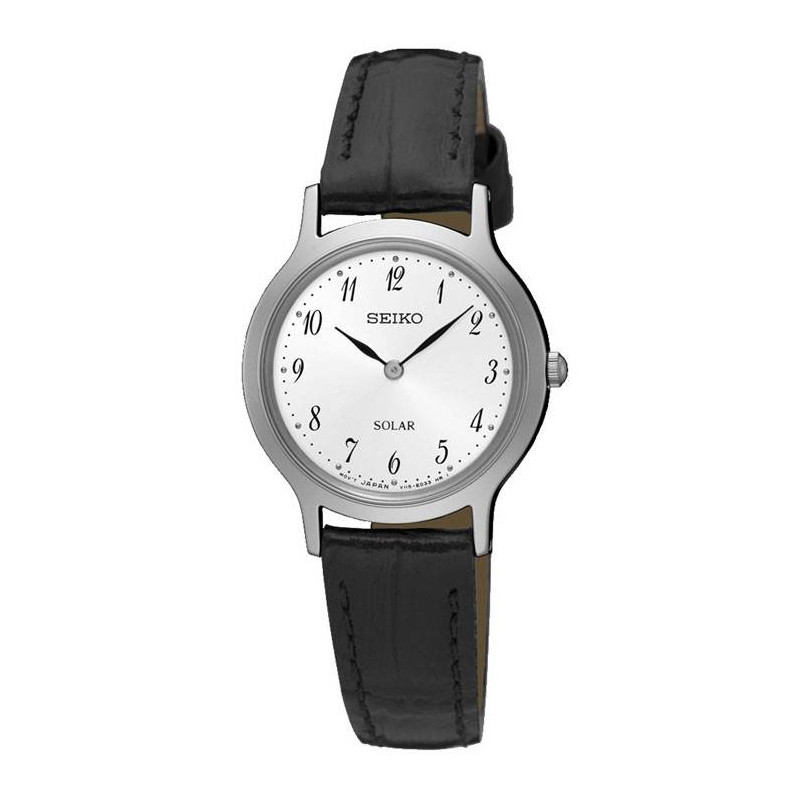 SEIKO LADIES SOLAR 26MM WHITE STEEL LEATHER