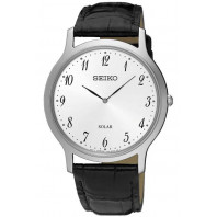 SEIKO MENS SOLAR 38MM WHITE STEEL LEATHER