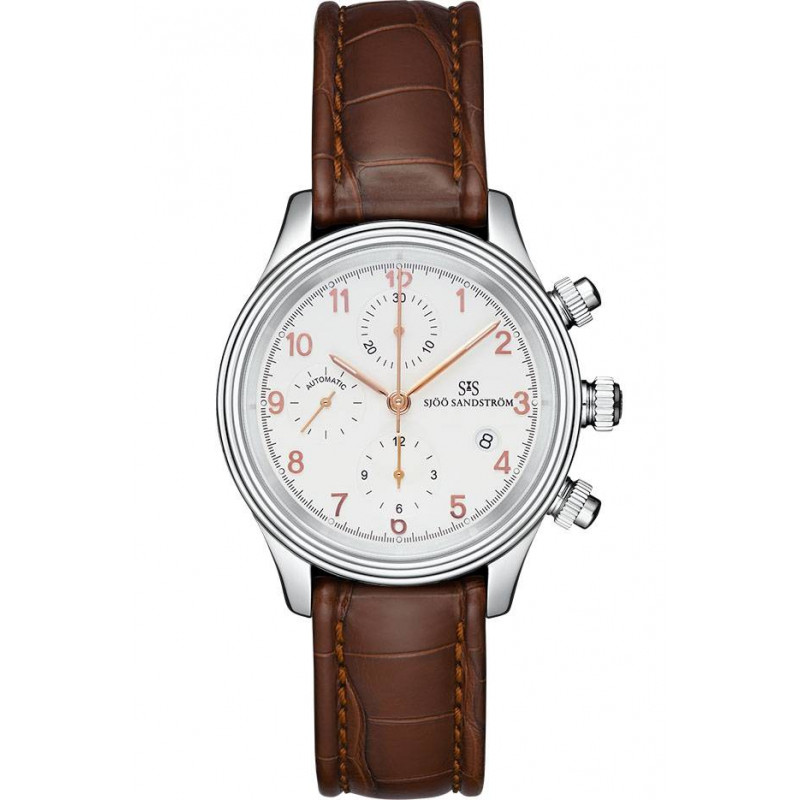 Sjöö Sandström Royal Steel Chronograph, Ivory & Alligator strap 012628