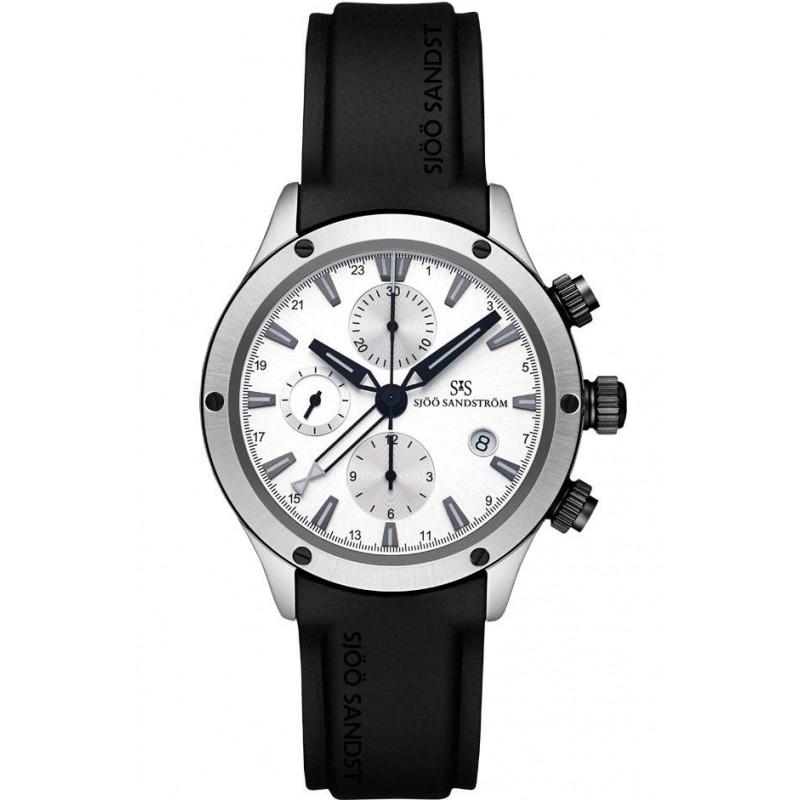 Sjöö Sandström UTC EXTREME chronograph, Silver & svart gummiband 015285