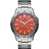Sjöö Sandström - Royal Steel Worldtimer Gent's Watch Orange & Steel 41mm