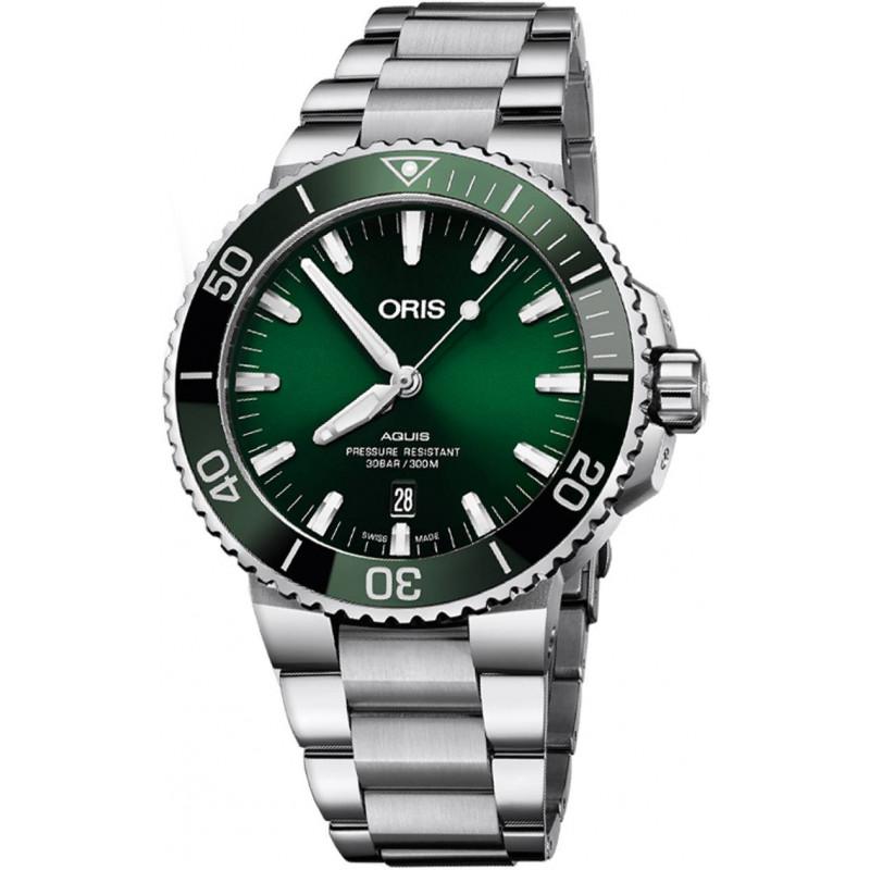 Oris - Aquis 39.5 mm Grön Urtavla & Stållänk