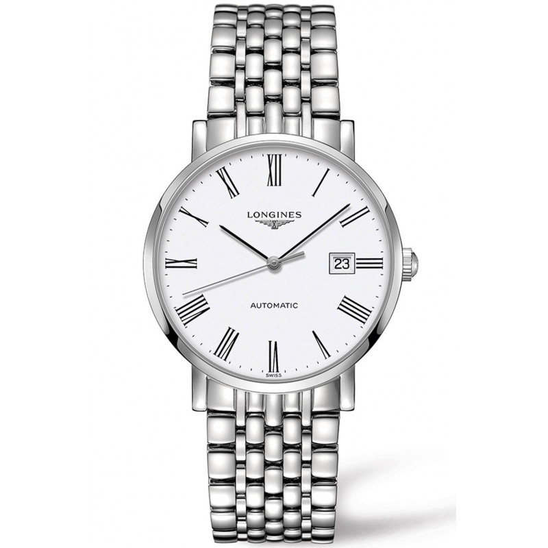 Longines - Elegant White Steel Roman Numeral 39mm Gent's Watch