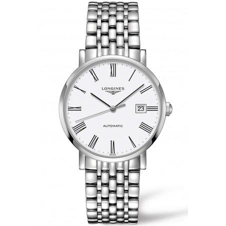 Longines - Elegant  White Steel Roman Numeral 39mm Gent's Watch