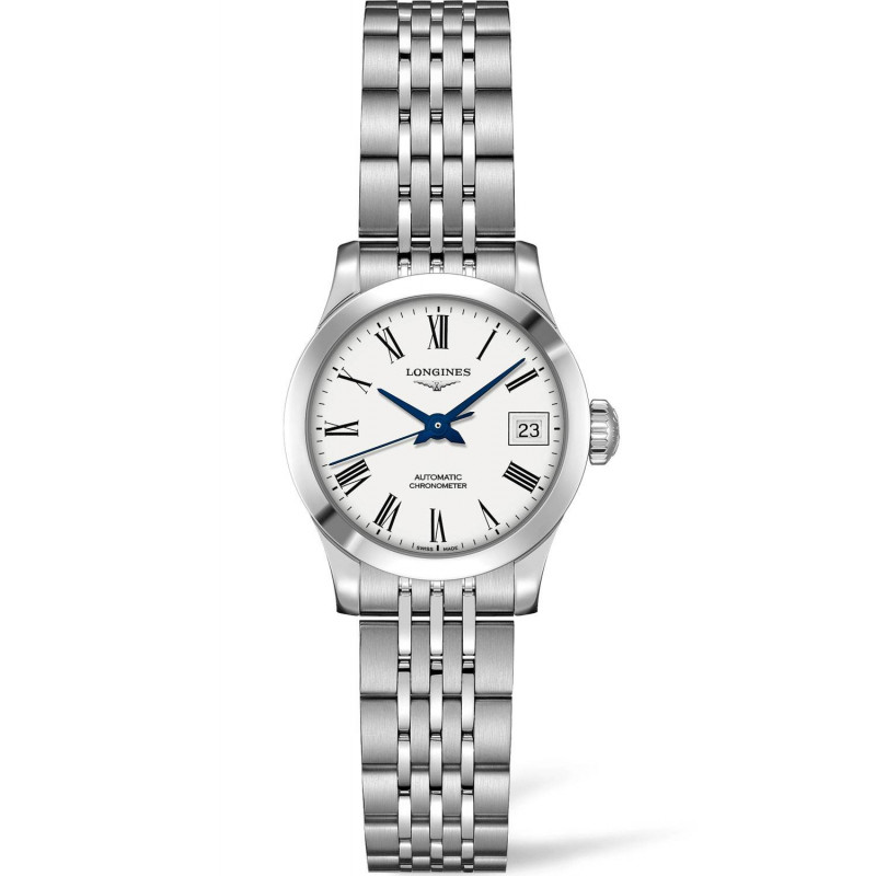 Longines -Record 26 mm White Roman Numeral Lady's Watch