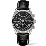 Longines - Master Full Calendar Moon Phase Black & Alligator strap 40mm