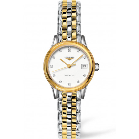 Longines -Flagship 26mm White & Diamonds, Lady's watch, Gold and Steel