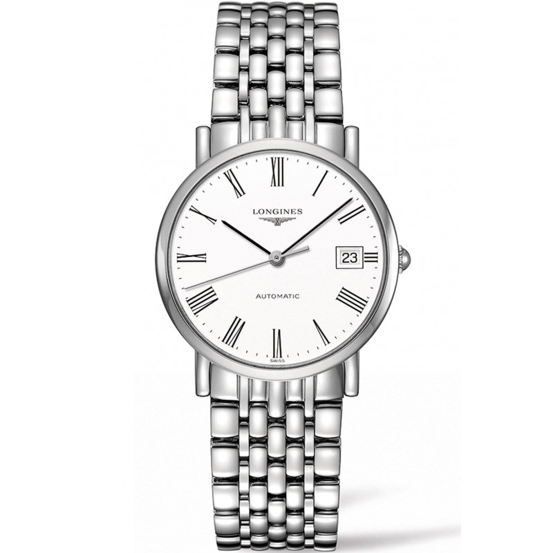 Longines - Elegant  White Steel Roman Numeral 35mm Unisex