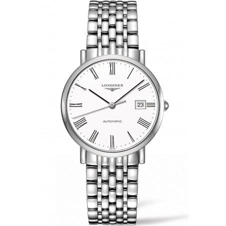 Longines - Elegant  White Steel Roman Numeral 37mm Gent's Watch