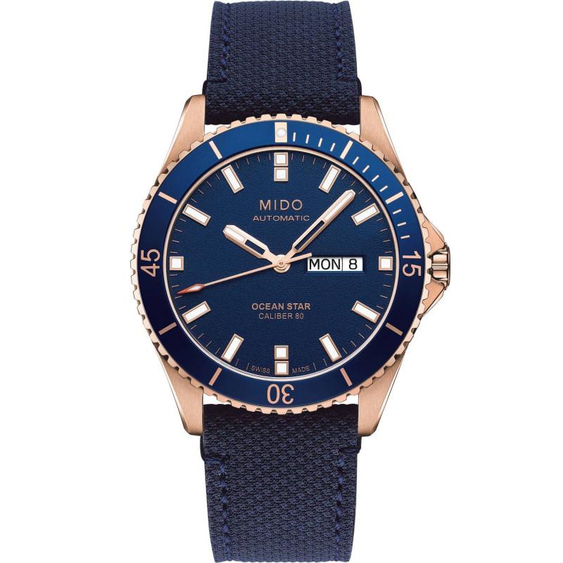 MIDO Ocean Star- Blue & Rose Gold PVD Rubber Gent's Watch