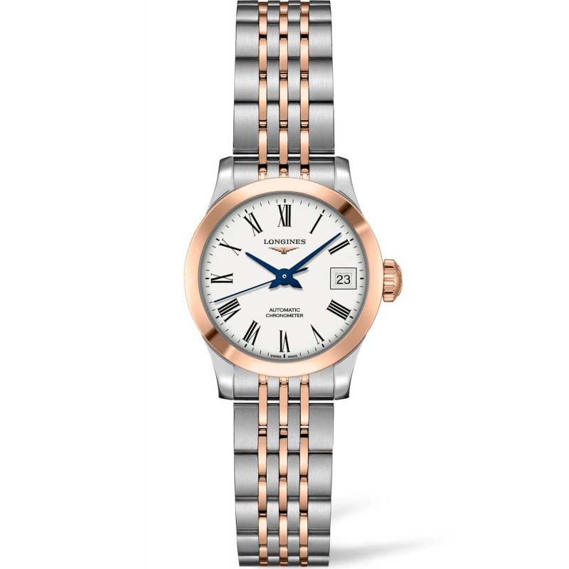 Longines -Record White Roman Numral Rose Gold & Steel 26mm