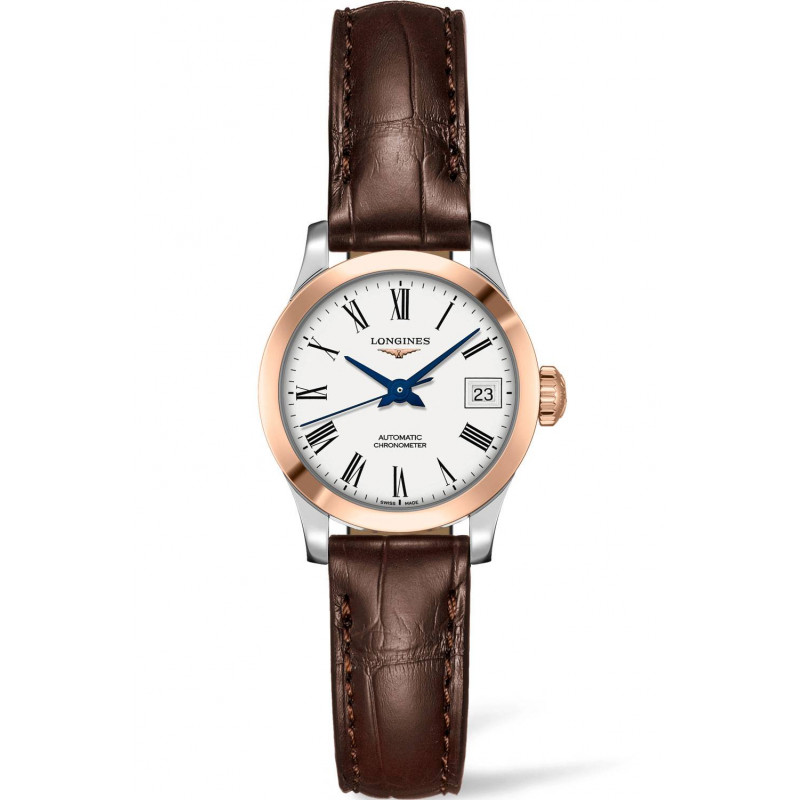 Longines -Record White Roman Numral Rose Gold & Steel Leather 26mm