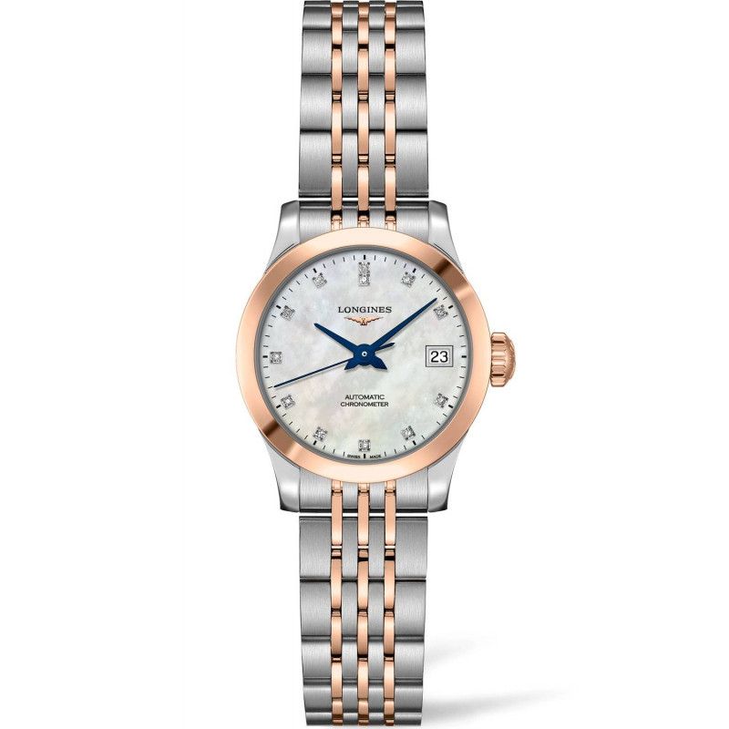 Longines -Record MOP Diamond Rose Gold & Steel 26mm