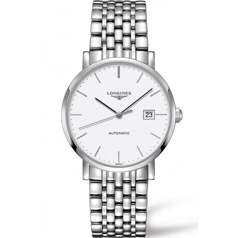 Longines - Elegant White Steel 37mm Gent's Watch