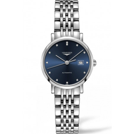 Longines Elegant Lady Blue Steel Diamonds Lady's Watch 29mm