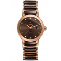 Rado Centrix women's watch brown dial, rose gold & ceramic R30183752