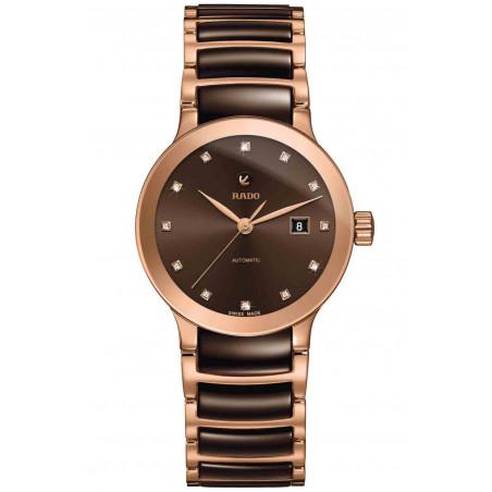 Rado Centrix women's watch brown dial, rose gold & ceramic R30183752