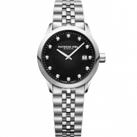 Raymond Weil - Freelancer 12 Diamonds Black & Steel Lady's Watch Quartz