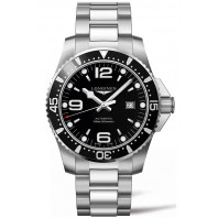 Longines - HydroConquest 44 mm, black dial, steel bracelet, L38414566