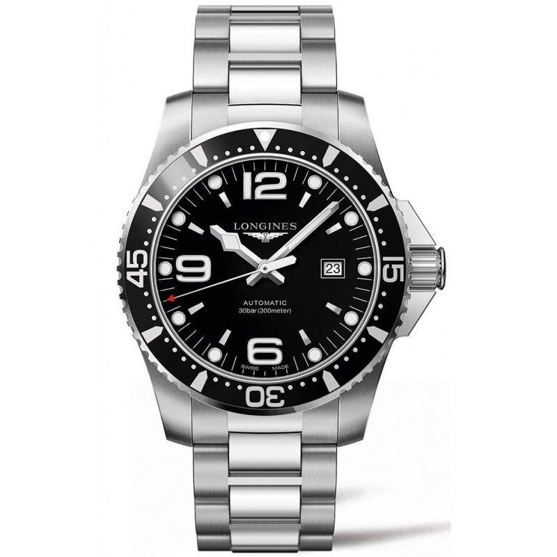 Longines - HydroConquest 44 mm, black dial, steel bracelet, L38414566