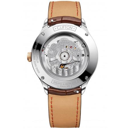 Baume & Mercier Clifton Baumatic Vit & Läderband Rose Guld PVD-M0A10519