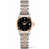Longines -Record Black 12 Diamonds Rose Gold & Steel 26mm