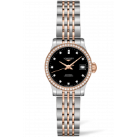 Longines -Record Svart  64 Diamant Rose Guld & Stål  26 mm