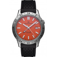 Sjöö Sandström Royal Steel Worldtimer Orange & gummiband, 41mm, 020098
