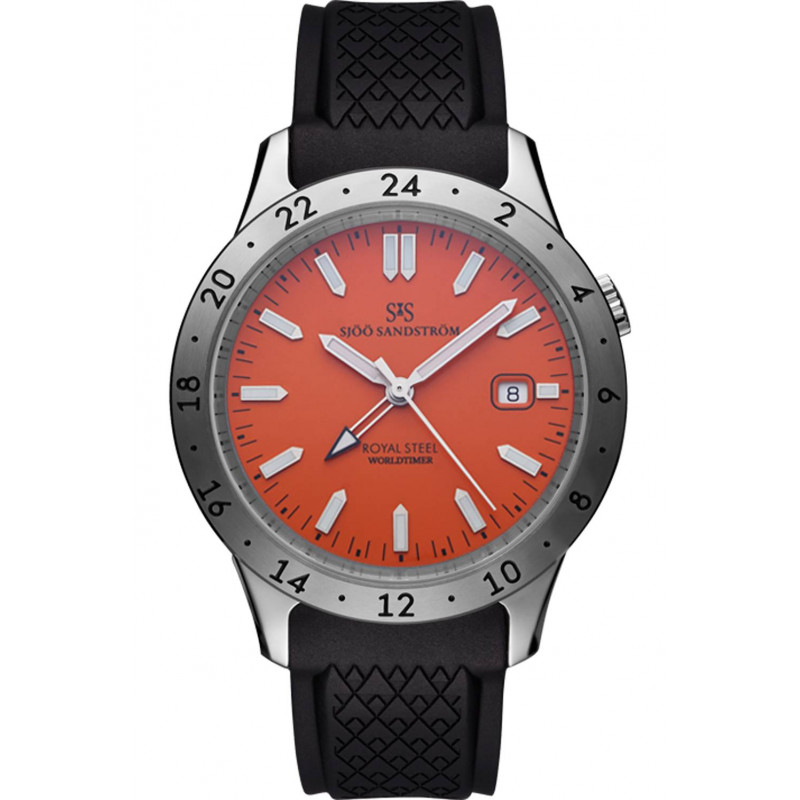Sjöö Sandström Royal Steel Worldtimer Orange & Rubber strap, 020098
