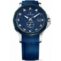 Corum Admiral Legend 42 mm Small Second Blue Wooden Dial