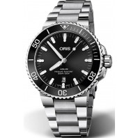 Oris - Aquis 39.5 mm. Sunburst svart urtavla & Gummiband 733 7732 4134