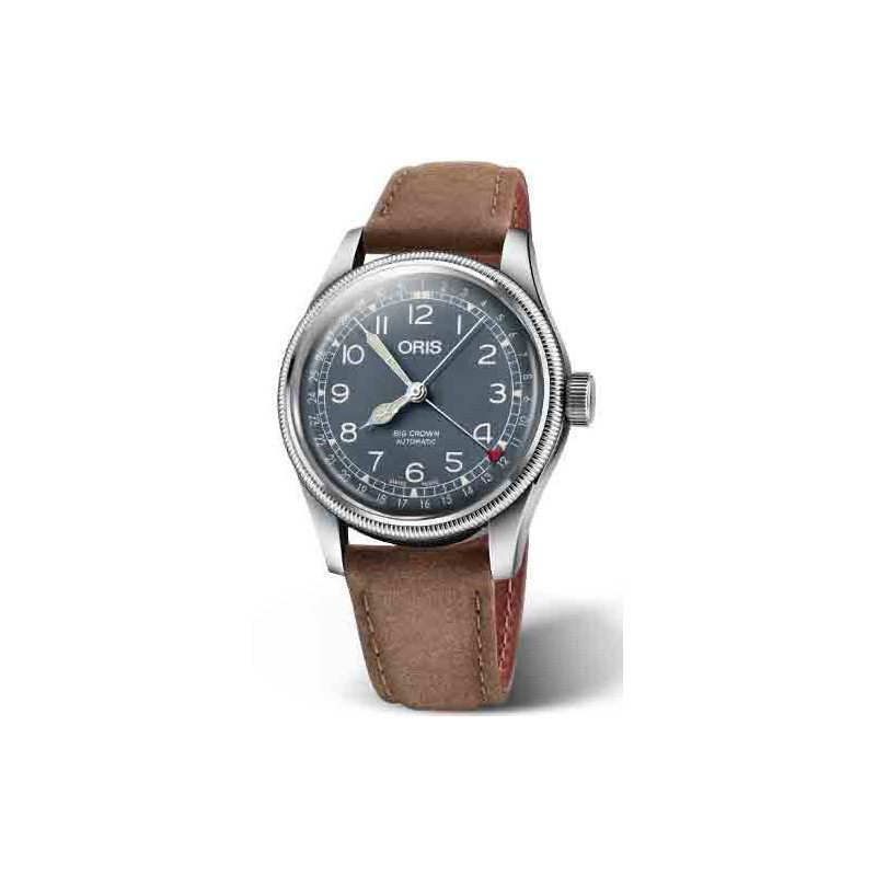 Oris Big Crown Pointer Date med blå urtavla & brunt band 754 7741 4065