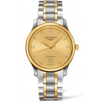 Longines Master Automatic - 38.5 mm diamonds index silver & yellow gold