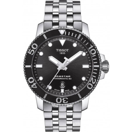 Tissot Seastar 1000 Powermatic 80 Black & Steel Gent's Watch