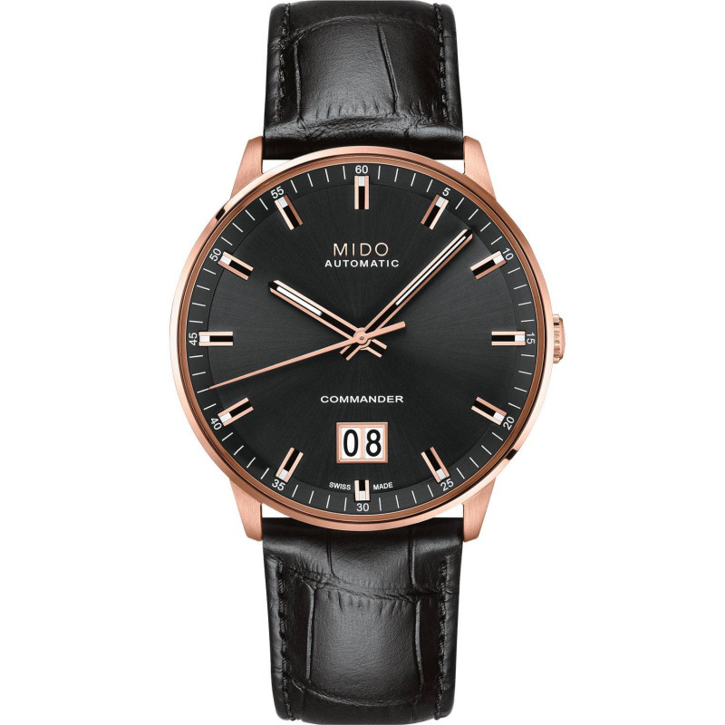 Mido Commander - Big Date Black & Rose Gold PVD Letaher Gent's Watch