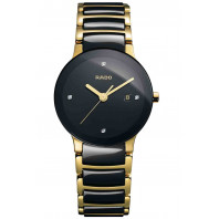 Rado - Centrix Quartz Black Ceramic & Gold Lady's