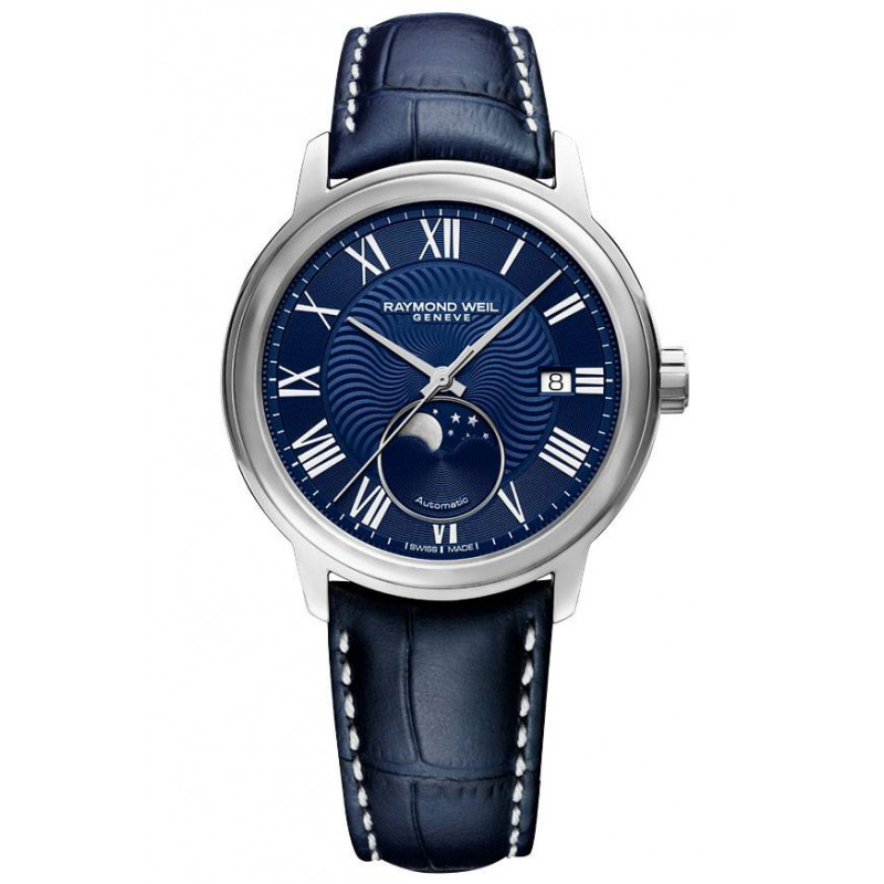 Raymond Weil Maestro Moon Phase Blue & Leather strap 2239-STC-00509