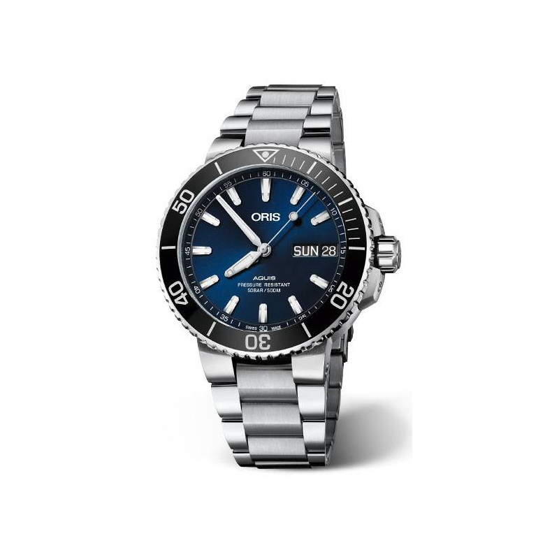 Oris - Aquis Chronograph with Blue&black ceramic ring 77477434155MB