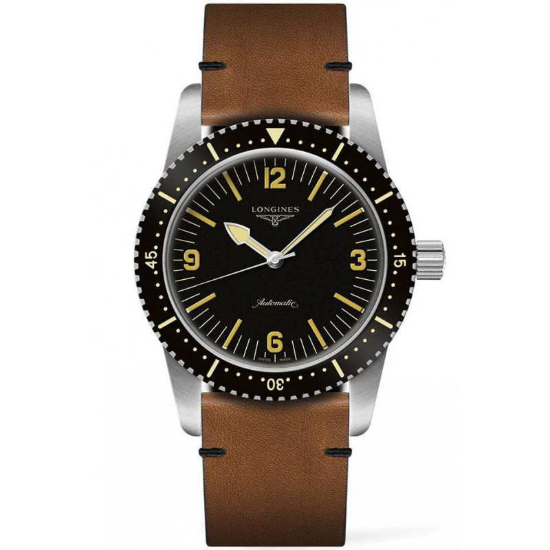 Buy Online Longines - Skin Diver Mens Watch 42mm, steel case with black PVD coating, leather strap. Ref. L28224562