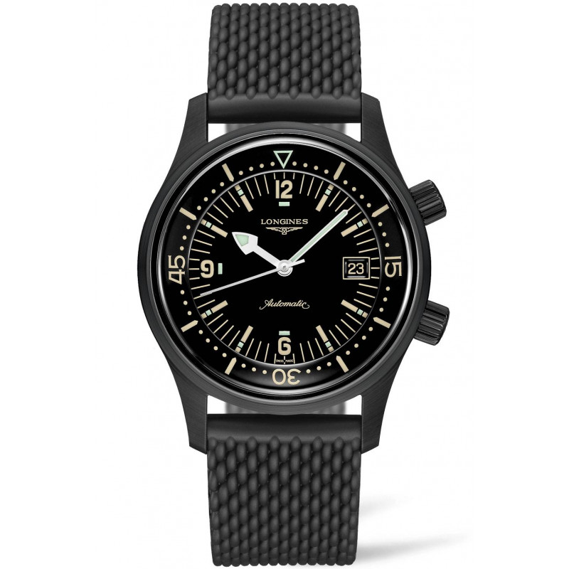 Longines - Legend Diver herrklocka svart PVD & gummiband L37742509