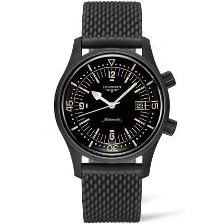 Longines - Legend Diver Black PVD & rubber strap L37742509