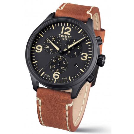 Tissot Chrono XL men's watch, black PVD & leather strap T1166173605700