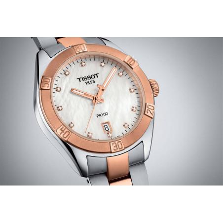 TISSOT PR100 Sport Chic Lady's watch, steel & gold PVD T1019102211600