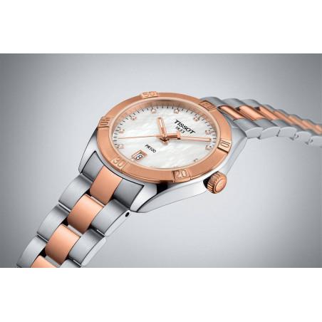 TISSOT PR100 Sport Chic damklocka pärlemor, diamanter T1019102211600