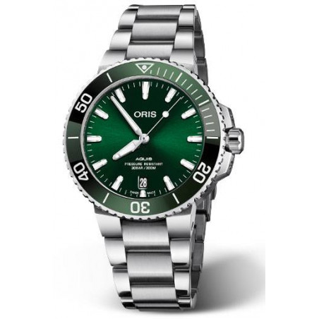 Oris - Aquis 39.5 mm green dial steel bracelet  733 7732 4157MB