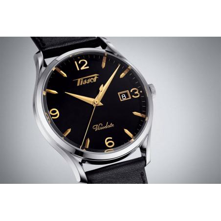 Tissot - Heritage Visodate Quartz black & leather strap T1184101605701