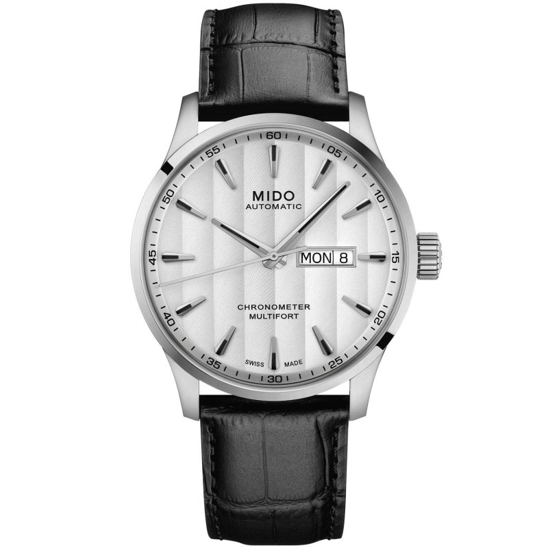 MIDO Multifort COSC Certified silver dial & leather M0384311603100