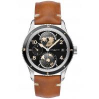 Montblanc 1858 Geosphere 42mm, svart urtavla läderband 119286